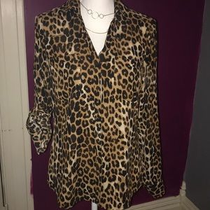 Express button down long sleeved animal print top